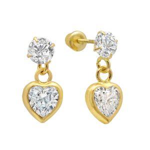 14k Yellow Gold Heart Cubic Zirconia Dangle Earrings