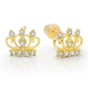 14k Yellow Gold Cubic Zirconia Crown Bell Back Earrings