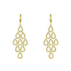 14k Yellow Gold Raindrop Chandelier Earrings