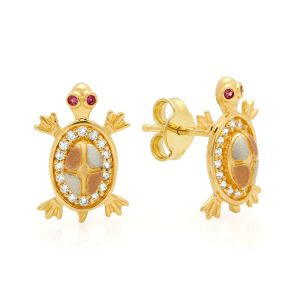14k Gold Tri-Color Cubic Turtle Zirconia Earrings