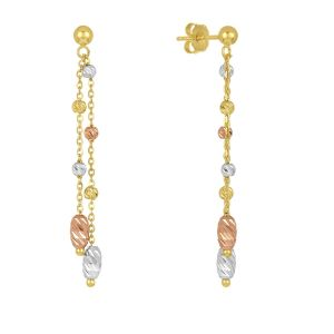 14k Tri Color Gold Dangling Beads Earrings