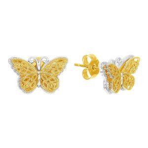 14k Two Tone Gold Butterfly Earring Studs