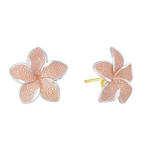 14k Tri Color Gold Plumeria Earring Studs