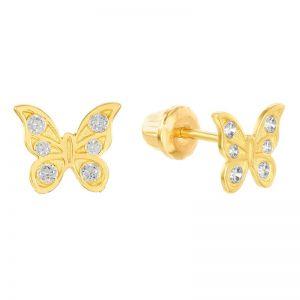 14k Yellow Gold Cubic Zirconia Butterfly Children's Earrings