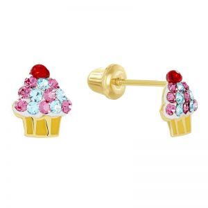 14k Yellow Gold Cupcake Earrings
