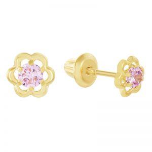 14k Yellow Gold Children's Pink Flower Earrings