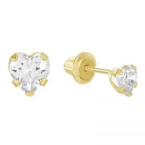 14k Yellow Gold Children's Heart-Shaped Cubic Zirconia Earrings