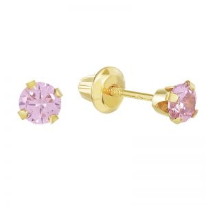 14k Yellow Gold Children's Round Pink Stud Earrings