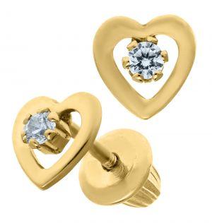 14k Yellow Gold Children's Open Heart Cubic Zirconia Earrings