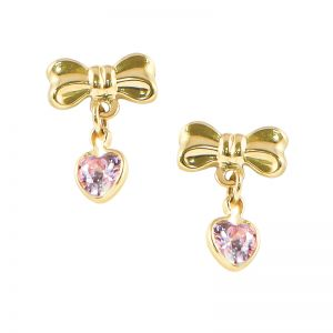 14k Yellow Gold Bow with Dangle Heart Children's Earrings