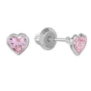 14k White Gold Pink Heart Bezel Earring