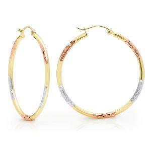 14k Gold Tri-Color Diamond Cut Hoop Earrings