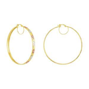 14k Gold Tri-Color 52mm Diamond Cut Star Pattern Hoop Earrings