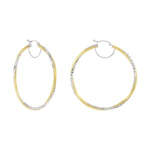 14k Two Tone Gold 50MM Satin Twist Design Hoops
