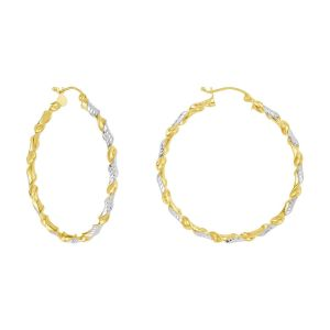 14k Two Tone Gold 40MM Twisted Design Tube Hoops