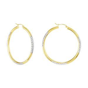 14k Two Tone Gold 45MM Diamond Cut Hoops