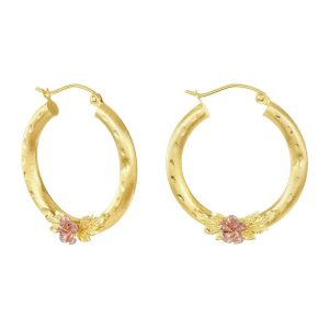 14k Two Tone Gold 25MM Rose Design Hoops