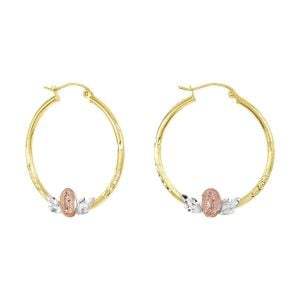 14k Tri Color Gold 30MM Guadalupe and Leaf Design Hoops