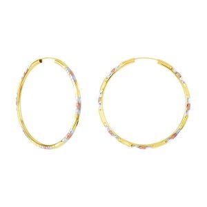 14k Tri Color Gold 45MM Diamond Cut Pattern Endless Hoops