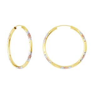 14k Tri Color Gold 35MM Diamond Cut Pattern Endless Hoops
