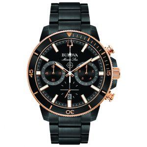 Men's Bulova Black and Rose Gold-Tone Marine Star Chronograph Watch - 98B302