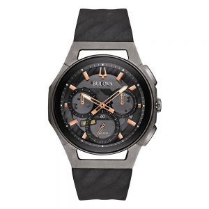 Men's Bulova Curv Collection Black and Titanium Watch 98A162
