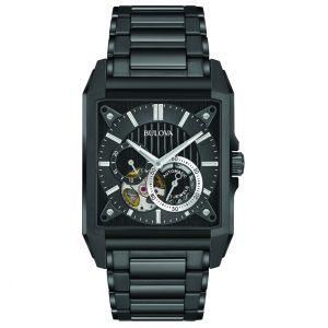 Men's Bulova Black Rectangular Classic Automatic Watch - 98A180