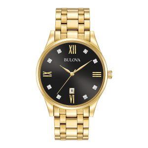 Men's Bulova Gold-Tone Black Dial Diamonds Collection Watch