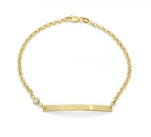 Women's 14k Yellow Gold ID Bracelet with Cubic Zirconia Bezel