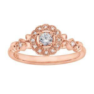 14k Rose Gold Vintage Floral Halo Engagement Ring