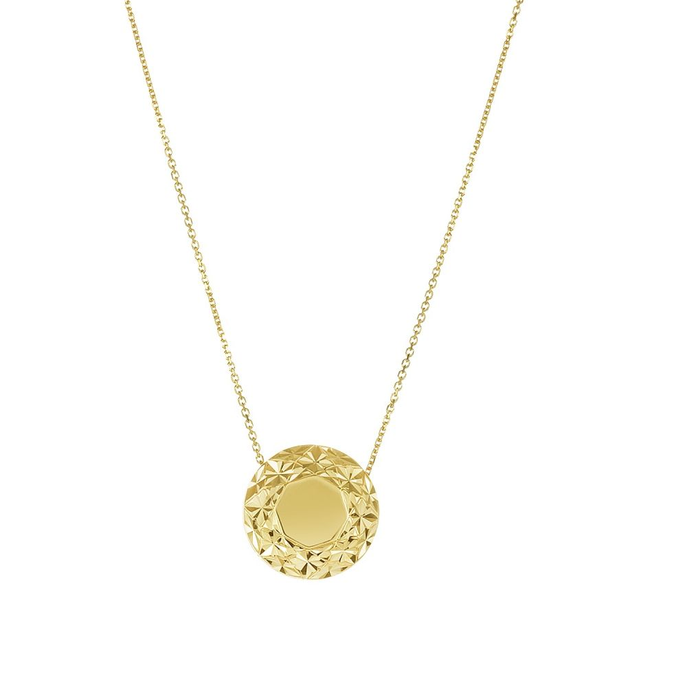 14k Yellow Gold Diamond Cut Circle Pendant Necklace
