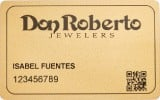 Example of what a Don Roberto Jewelers finance card looks like.